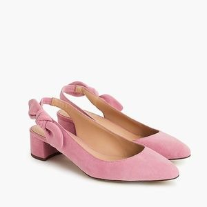 J.Crew Slingback bow pumps (40mm) in suede-H8181